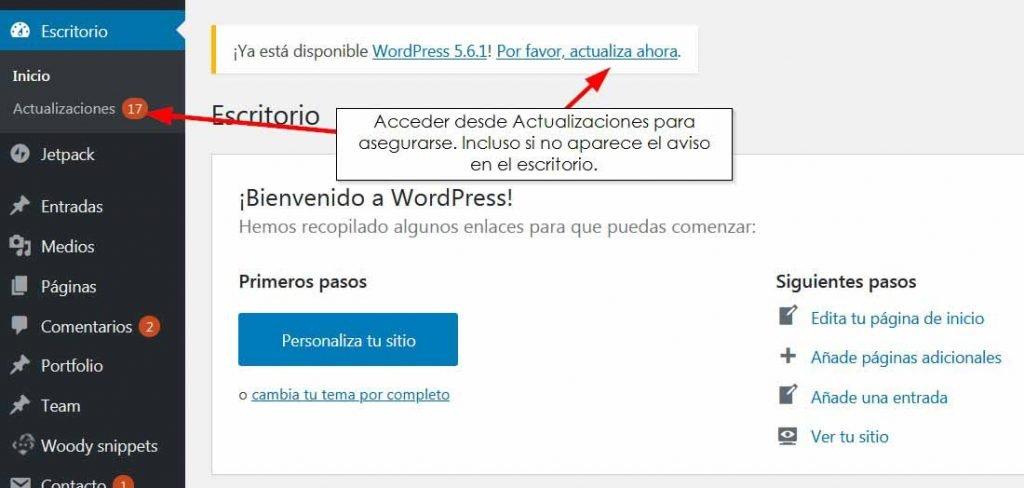 Vista administración actualizar WordPress